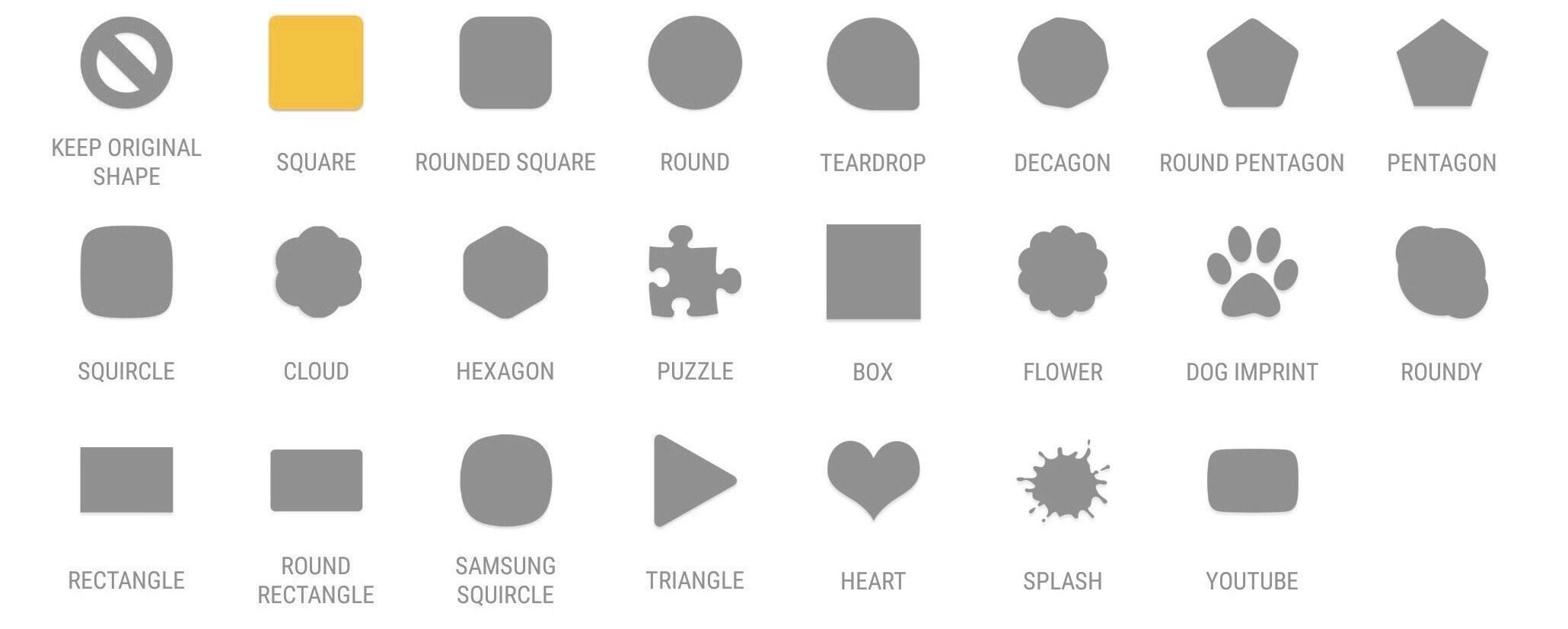 Формы иконок в Adapticons